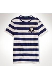 Темно-сине-белая футболка с круглым вырезом