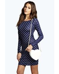 Темно-сине-белое облегающее платье в горошек