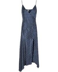 Темно-сине-белое платье-макси в горошек