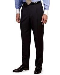 Темно-сине-белые классические брюки в вертикальную полоску