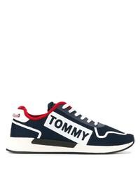 Мужские темно-сине-белые низкие кеды из плотной ткани от Tommy Jeans