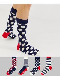 Мужские темно-сине-белые носки в горошек от Happy Socks