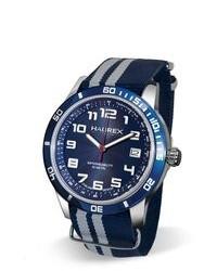 Темно-сине-белые часы из плотной ткани