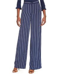 Темно-сине-белые широкие брюки в вертикальную полоску