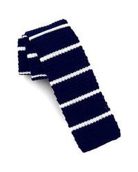 Темно-сине-белый вязаный галстук