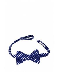 Мужской темно-сине-белый галстук-бабочка в горошек от Rainbowtie