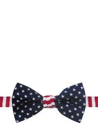 Темно-сине-белый галстук-бабочка со звездами