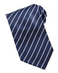 Темно-сине-белый галстук в вертикальную полоску