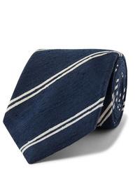 Темно-сине-белый галстук в горизонтальную полоску