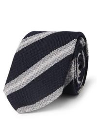 Мужской темно-сине-белый галстук в горизонтальную полоску от Brioni
