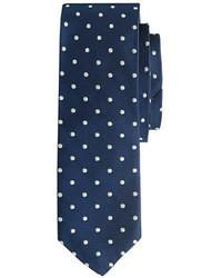 Темно-сине-белый галстук в горошек