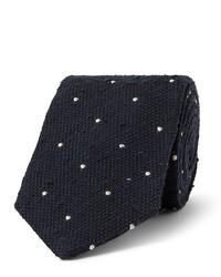 Мужской темно-сине-белый галстук в горошек от Drake's