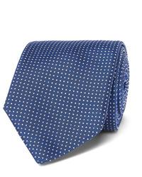 Мужской темно-сине-белый галстук в горошек от Hugo Boss