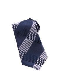 Темно-сине-белый галстук в шотландскую клетку