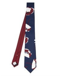 Темно-сине-белый галстук с принтом