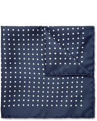 Мужской темно-сине-белый нагрудный платок в горошек
