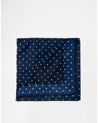 Мужской темно-сине-белый нагрудный платок в горошек от Asos
