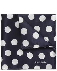 Темно-сине-белый нагрудный платок в горошек от Paul Smith