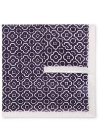Темно-сине-белый нагрудный платок с принтом от Anderson & Sheppard