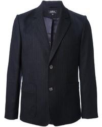 Мужской темно-сине-белый пиджак в вертикальную полоску от A.P.C.