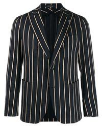 Мужской темно-сине-белый пиджак в вертикальную полоску от Tagliatore