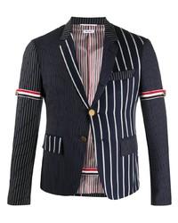 Мужской темно-сине-белый пиджак в вертикальную полоску от Thom Browne