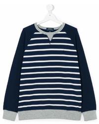 Темно-сине-белый свитер в горизонтальную полоску