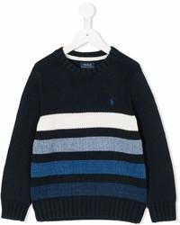 Детский темно-сине-белый свитер в горизонтальную полоску для мальчиков от Ralph Lauren