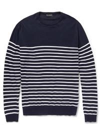 Темно-сине-белый свитер с круглым вырезом в горизонтальную полоску