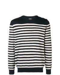 Мужской темно-сине-белый свитер с круглым вырезом в горизонтальную полоску от A.P.C.