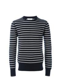 Мужской темно-сине-белый свитер с круглым вырезом в горизонтальную полоску от AMI Alexandre Mattiussi