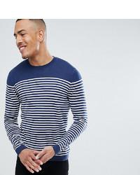 Мужской темно-сине-белый свитер с круглым вырезом в горизонтальную полоску от ASOS DESIGN