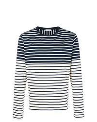 Мужской темно-сине-белый свитер с круглым вырезом в горизонтальную полоску от JW Anderson