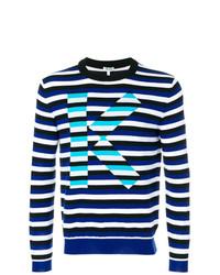 Мужской темно-сине-белый свитер с круглым вырезом в горизонтальную полоску от Kenzo