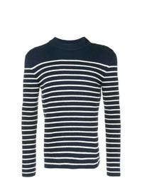 Мужской темно-сине-белый свитер с круглым вырезом в горизонтальную полоску от Saint Laurent