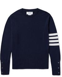 Мужской темно-сине-белый свитер с круглым вырезом в горизонтальную полоску от Thom Browne