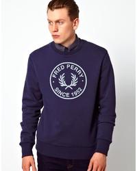 Темно-сине-белый свитер с круглым вырезом с принтом