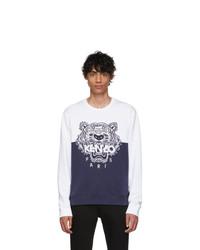 Мужской темно-сине-белый свитер с круглым вырезом с принтом от Kenzo