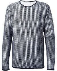 Темно-сине-белый свитер с круглым вырезом