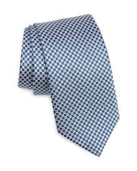 Темно-сине-белый шелковый галстук в клетку