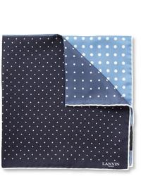Темно-сине-белый шелковый нагрудный платок в горошек от Lanvin