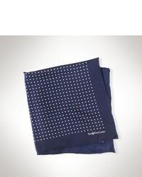 Темно-сине-белый шелковый нагрудный платок