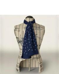 Темно-сине-белый шелковый шарф в горошек