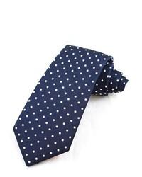 Темно-сине-белый шерстяной галстук в горошек