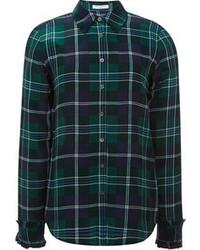 Темно-сине-зеленая классическая рубашка в шотландскую клетку