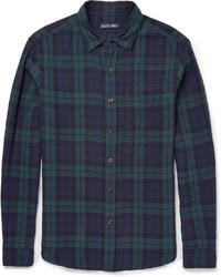 Темно-сине-зеленая рубашка с длинным рукавом в шотландскую клетку