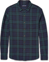 Мужская темно-сине-зеленая рубашка с длинным рукавом в шотландскую клетку
