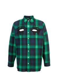 Мужская темно-сине-зеленая рубашка с длинным рукавом в шотландскую клетку от Haculla