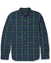 Мужская темно-сине-зеленая рубашка с длинным рукавом в шотландскую клетку от J.Crew