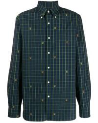Мужская темно-сине-зеленая рубашка с длинным рукавом в шотландскую клетку от Polo Ralph Lauren